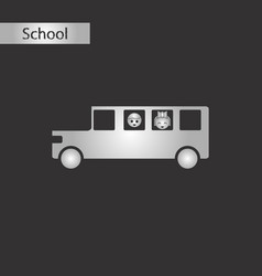 black and white style icon of school bus vector image vector image