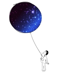 Boy with a sky balloon vector