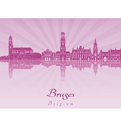 Bruges skyline in purple radiant orchid vector