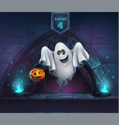cartoon ghost with pumpkin vector image