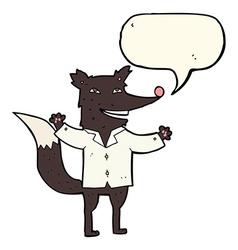 Cartoon happy wolf wearing shirt with speech vector