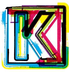 Colorful grunge font letter k vector