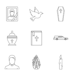 Death of person icons set outline style vector