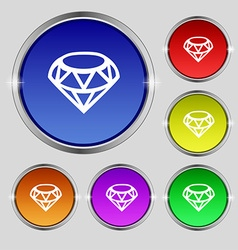 Diamond icon sign round symbol on bright colourful vector