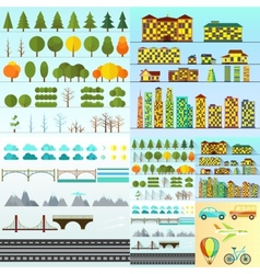Different urban objects collection isolated vector image vector image
