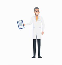 Doctor with prescription icon vector