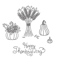 Doodle Thanksgiving Vintage Sheaf of Wheat and vector image vector image