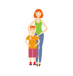 flat adult woman and boy kid isolated vector image