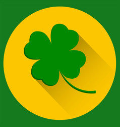 Four leaf clover st patricks day green icon in vector