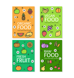 Fresh fruit raw organic vegan food flyer banner vector
