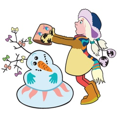 girl building a snowman vector image