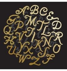 Gold Handwritten alphabet vector image vector image