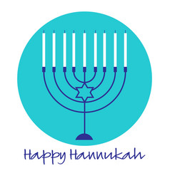 Hannukah menorah graphic on turquoise blue circle vector