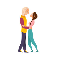 happy loving couple hugging looking at each other vector image