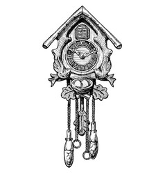 Old cuckoo clock vector
