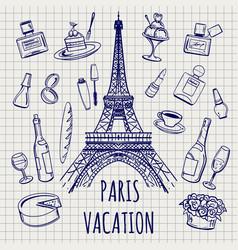 paris or france symbols sketch vector image