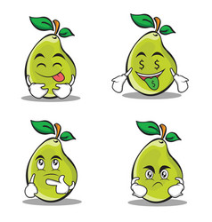pear character cartoon set collection vector image