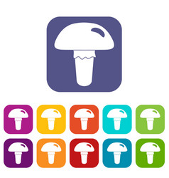 Poisonous mushroom icons set flat vector