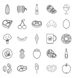 Restaurant icons set outline style vector