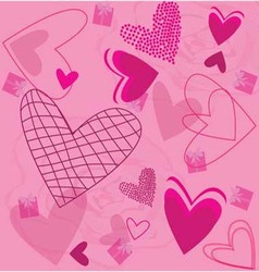 Roses and Pink Hearts vector image