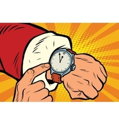 Santa Claus shows the clock nearly midnight vector image