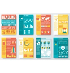 Set of flyer and brochure of flat infographics and vector