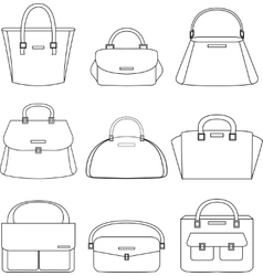 Set of handbags on white background vector image vector image