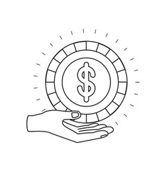 Silhouette hand palm giving a coin with dollar vector