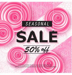 Spring summer sale banner with flower vector