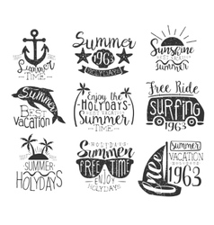 Summer vacation vintage stamp collection vector