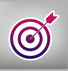 Target with dart purple gradient icon on vector