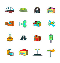 Urban infrastructure icons set cartoon vector