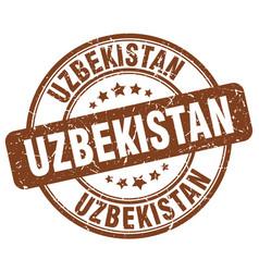 Uzbekistan brown grunge round vintage rubber stamp vector