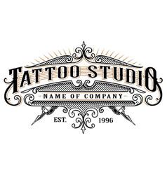 Vintage tattoo studio emblem 2 for white vector