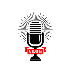 Vlog and blog logo with black retro microphone and vector