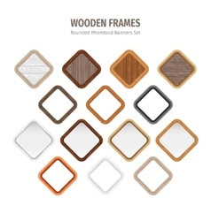 Wooden Rounded Rhomboid Frames vector image