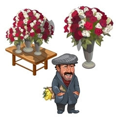 Funny man seller of roses character vector