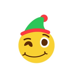 Winking smiley in a cap vector