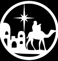 Adoration of the magi silhouette icon white black vector