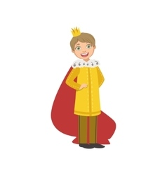 Little boy in yellow gown dressed as fairy tale vector