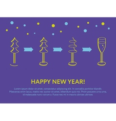 Fir and a glass of champagne New year card vector image