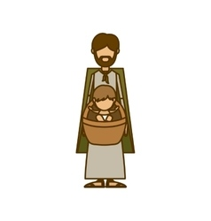 Isolated holy joseph and baby jesus design vector