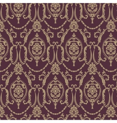 Damask pattern ornament in red color vector