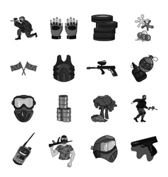 Paintball set icons in monochrome style big vector