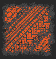 Orange tire track vector