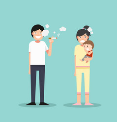 women and young boy smelly cigarette man smoking vector image