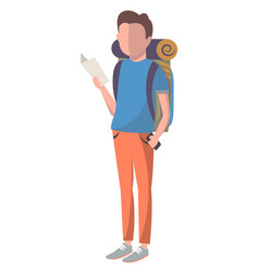 young male tourist with backpack vector image