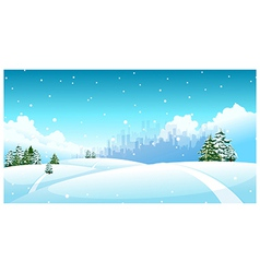 City skyline snow landscape vector