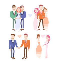 Gay and lesbian couples getting married vector