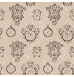 Old vintage clock seamless pattern vector image